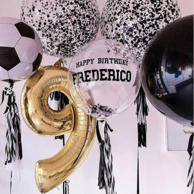 Воздушные шары футбол в композиции с цифрой на 9 лет