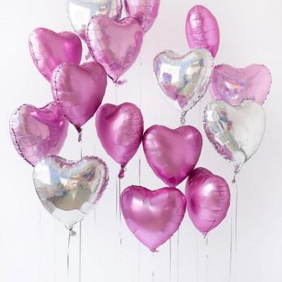Шарики в форме сердца розовое серебро