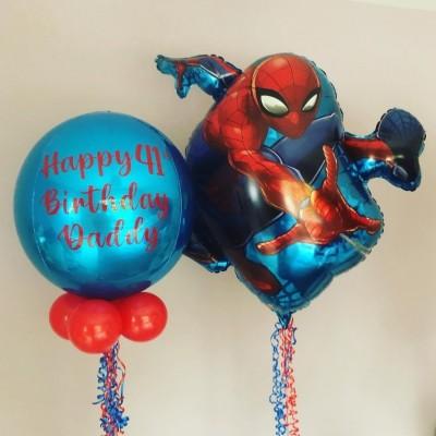Воздушный шарик Человек Паук и шар с надписью