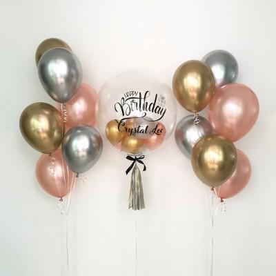 Воздушный шар с шариками внутри и фонтаны из шаров