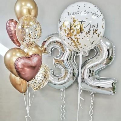 Стеклянный воздушный шар белый в наборе с цифрами