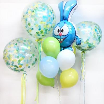 Воздушный шар Крош и шарики с конфетти