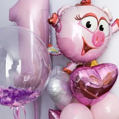 Воздушный шар Нюша и набор шаров на годик