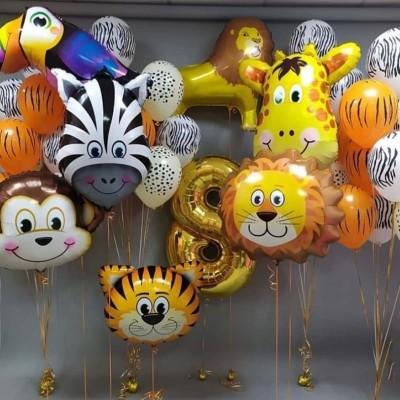 Воздушные шарики животные в композиции из шаров с цифрой