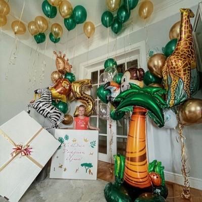 Воздушные шары джунгли и коробка с шарами сюрприз